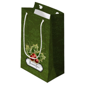 Shining Holly Berry on damask pattern with name Small Gift Bag