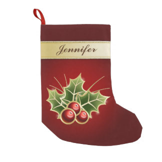 Shining Holly Berry Personalizable Small Christmas Stocking