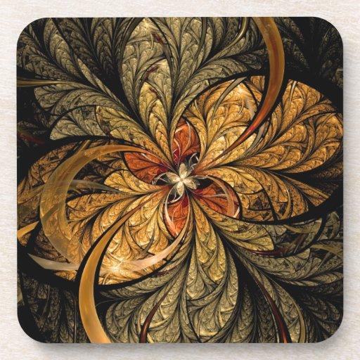 Shining Leaves Fractal Art Coaster