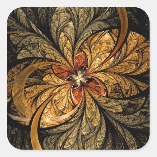 Shining Leaves Fractal Art Stickers
