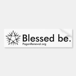"""Shining Pentagram """"Blessed be."""" – Bumper Sticker"""