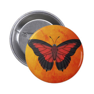 Shining Red Charaxes Butterfly 2 Inch Round Button