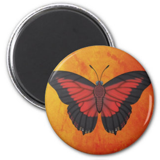 Shining Red Charaxes Butterfly 2 Inch Round Magnet