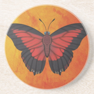 Shining Red Charaxes Butterfly Beverage Coasters