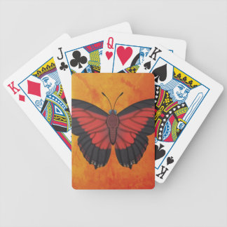 Shining Red Charaxes Butterfly Bicycle Playing Cards