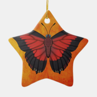 Shining Red Charaxes Butterfly Ceramic Ornament