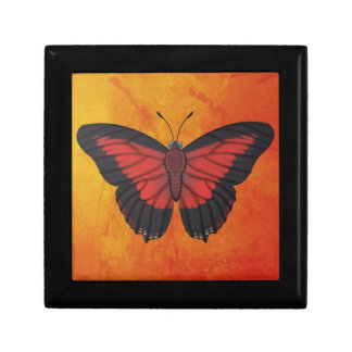 Shining Red Charaxes Butterfly Jewelry Box