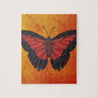Shining Red Charaxes Butterfly Jigsaw Puzzle