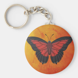 Shining Red Charaxes Butterfly Keychain
