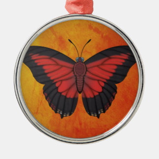 Shining Red Charaxes Butterfly Metal Ornament