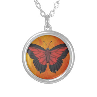Shining Red Charaxes Butterfly Silver Plated Necklace