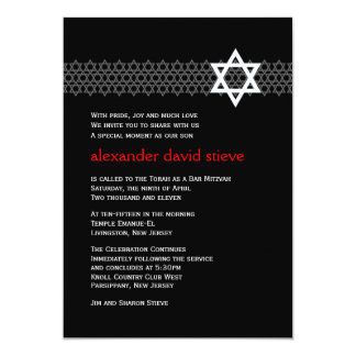 "Shining Star Bar Mitzvah Invitation 5"" X 7"" Invitation Card"