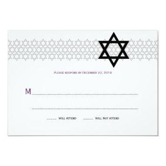Shining Star Bar Mitzvah RSVP in Purple Card
