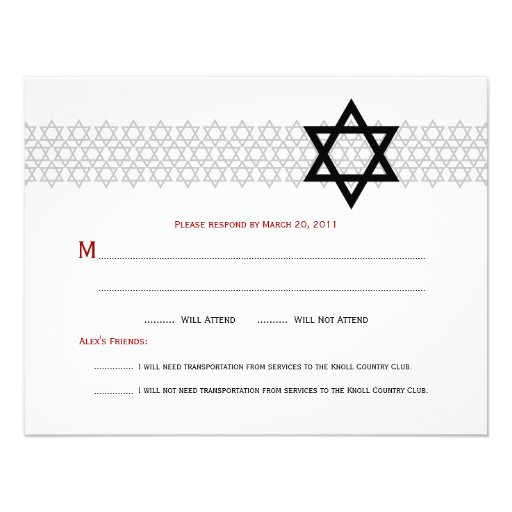 Shining Star Bar Mitzvah RSVP Custom Announcements