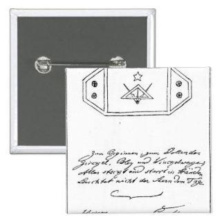 Shining star over square and Compass and lead 2 Inch Square Button