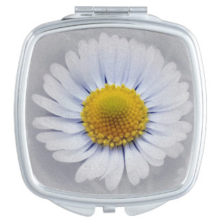 shining white daisy mirror for makeup