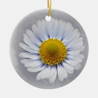 shining white daisy round ceramic ornament
