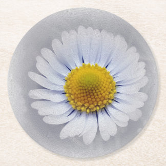 shining white daisy round paper coaster