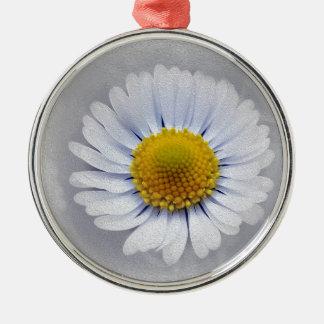 shining white daisy Silver-Colored round ornament