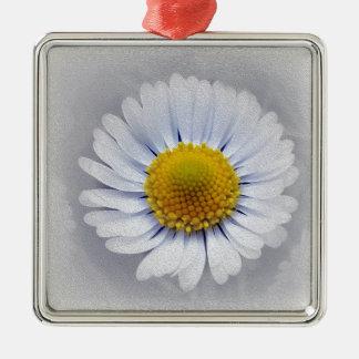 shining white daisy Silver-Colored square ornament
