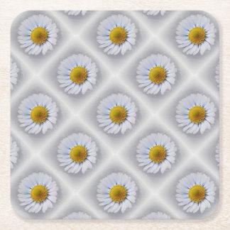 shining white daisy square paper coaster
