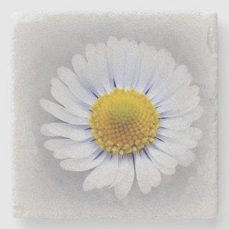 shining white daisy stone coaster