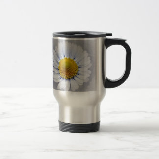 shining white daisy travel mug