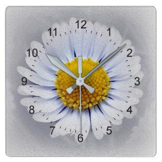 shining white daisy wall clock
