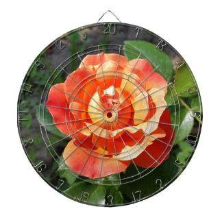 shining yellow rose dartboard with darts