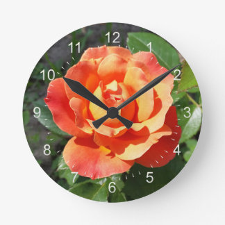 shining yellow rose round clock