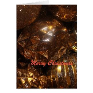 Shinny Gold Christmas Bulbs Greeting Card