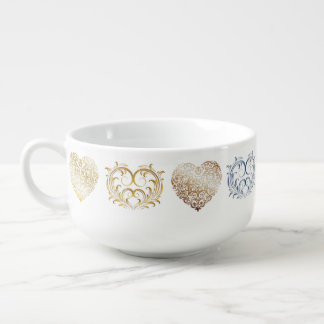 Shinny Metallic Filigree Hearts - Soup Mug