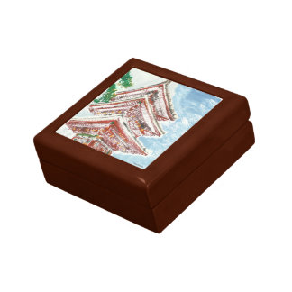 Shintennouji Temple Japan Wooden Oak Keepsake Box