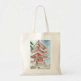 Shintennouji Temple Monotype Print Tote Bag