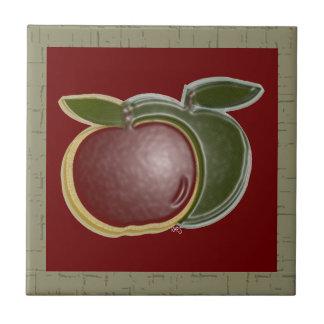 Shiny Apples 3D (sage/cranberry) Ceramic Tiles