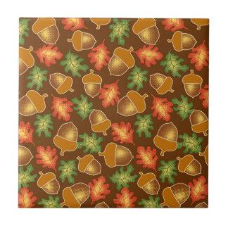 Shiny autumn atmosphere with acorns and oak leaf ceramic tiles