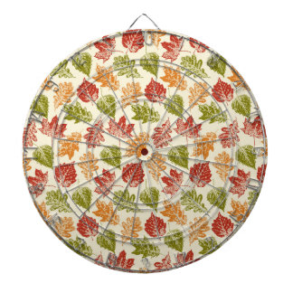 Shiny autumn atmosphere with fall leaves on cream dartboard