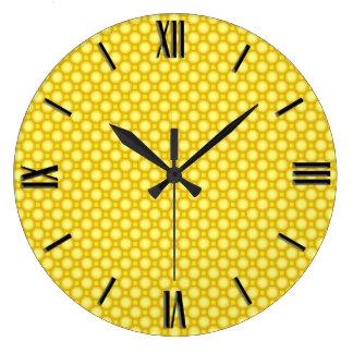 Shiny beads - yellow large clock