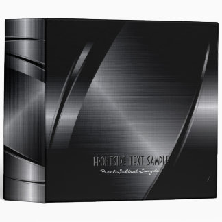 Shiny Black Metallic Brushed Aluminum Look Binder