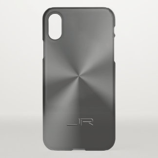 Shiny Black Metallic Stainless Steel Texture iPhone X Case