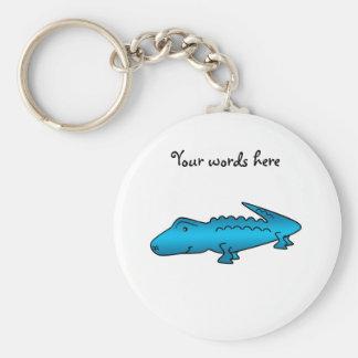 Shiny blue alligator keychain