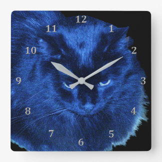 Shiny Blue Black Resting Cat Wallclock