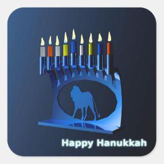 Shiny Blue Chanukkah Menorah Square Sticker