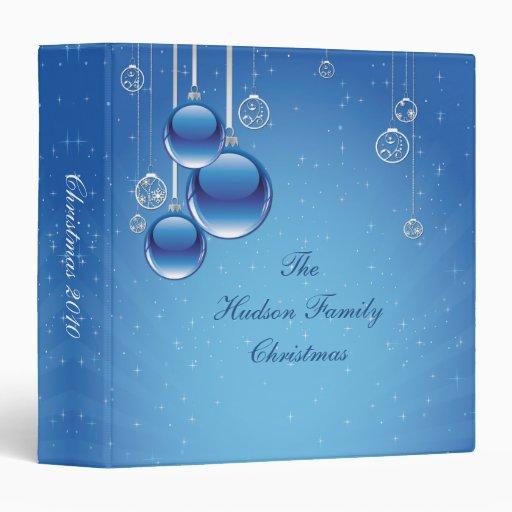 Shiny Blue Ornaments Star Background Photo Album Binder