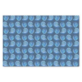 Shiny Blue Ornate Sea Shells Tissue Paper