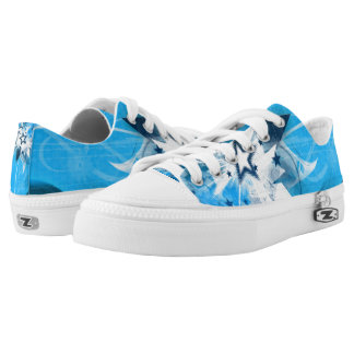 Shiny blue star Low-Top sneakers