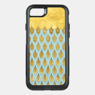 Shiny Blue Teal Glitter Mermaid Fish Scales OtterBox Commuter iPhone 8/7 Case