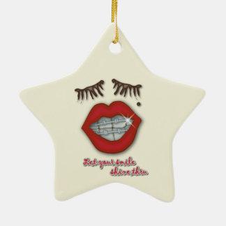 Shiny Braces, Red Lips, Mole, and Thick Eyelashes Ceramic Ornament