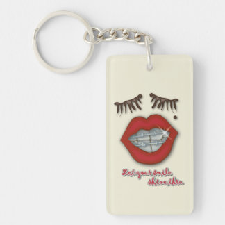 Shiny Braces, Red Lips, Mole, and Thick Eyelashes Keychain