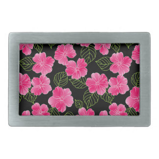 Shiny bright pink flowers,green leaves on black belt buckle